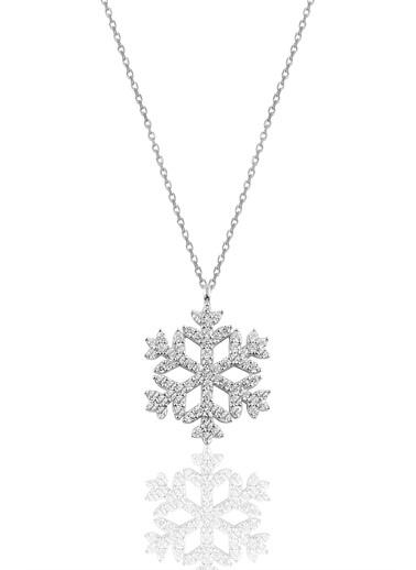 Söğütlü Silver Gümüş Rodyumlu Gümüş Kar Tanesi Kolye Gümüş